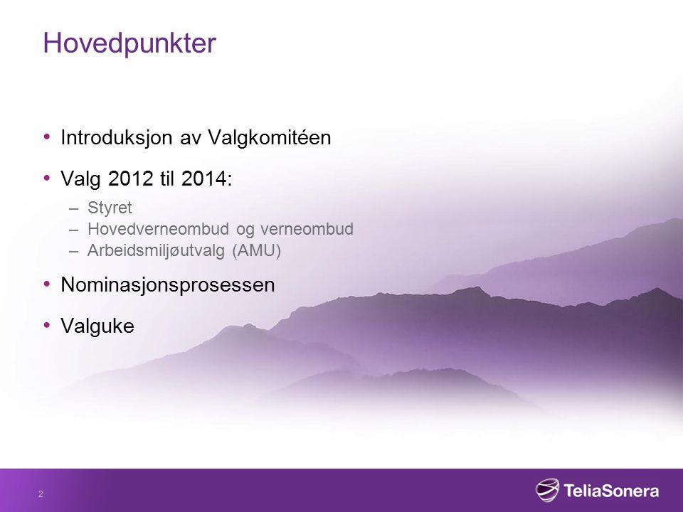Hovedpunkter Introduksjon av Valgkomitéen Valg 2012 til 2014: