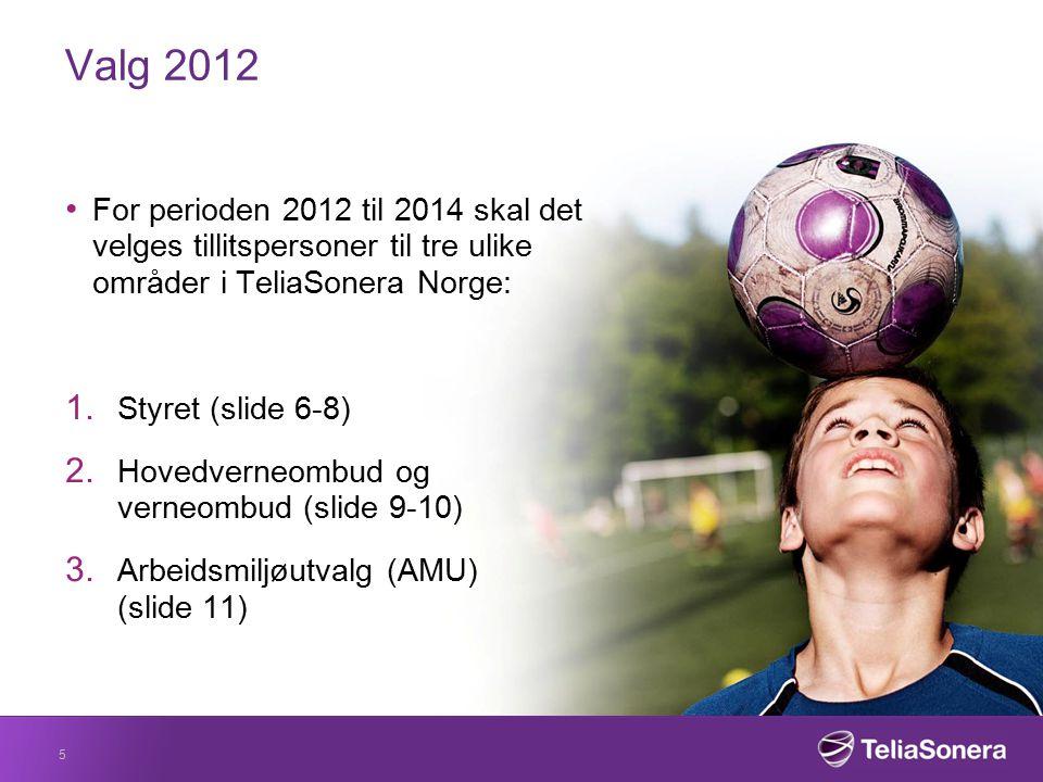 Valg 2012 For perioden 2012 til 2014 skal det velges tillitspersoner til tre ulike områder i TeliaSonera Norge: