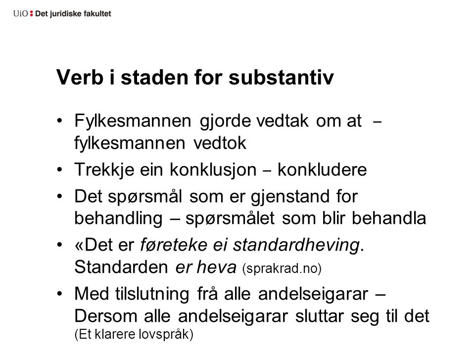 Verb i staden for substantiv