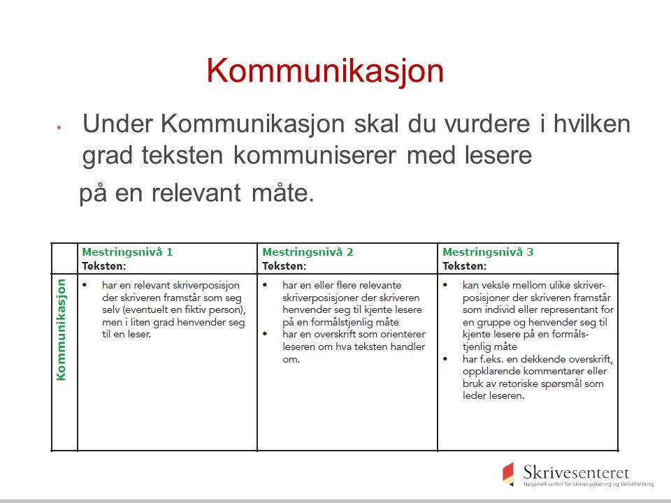 Kommunikasjon Under Kommunikasjon skal du vurdere i hvilken grad teksten kommuniserer med lesere.