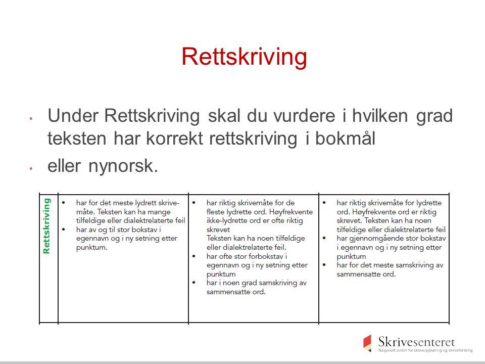 Rettskriving Under Rettskriving skal du vurdere i hvilken grad teksten har korrekt rettskriving i bokmål.