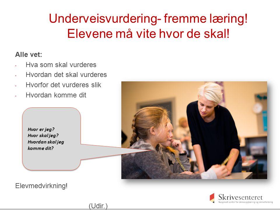Underveisvurdering- fremme læring! Elevene må vite hvor de skal!