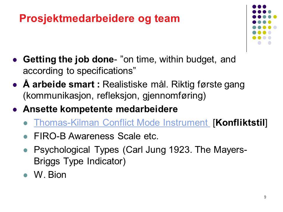 Prosjektmedarbeidere og team