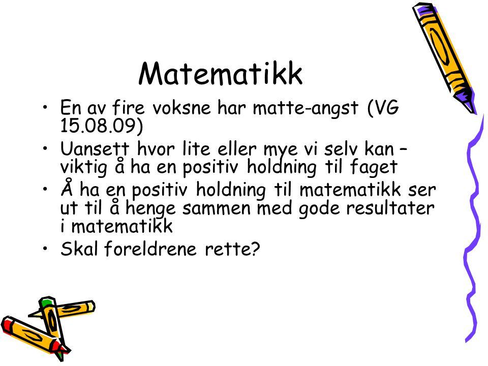 Matematikk En av fire voksne har matte-angst (VG 15.08.09)