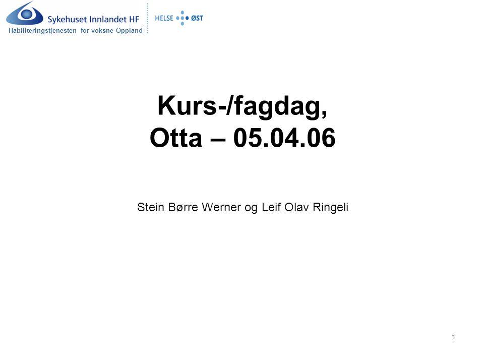 Kurs-/fagdag, Otta – 05.04.06 Stein Børre Werner og Leif Olav Ringeli