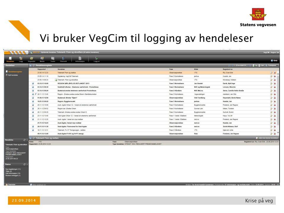 Vi bruker VegCim til logging av hendeleser
