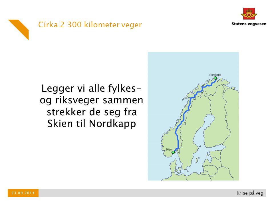 Cirka 2 300 kilometer veger Legger vi alle fylkes- og riksveger sammen strekker de seg fra Skien til Nordkapp.