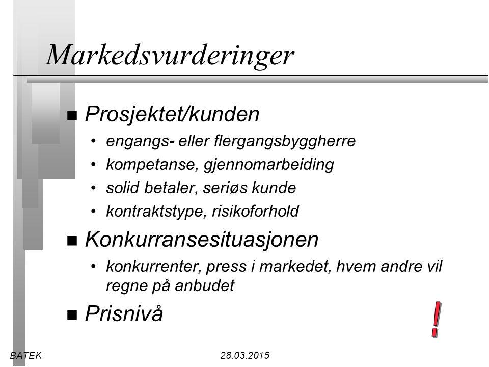 Markedsvurderinger ! Prosjektet/kunden Konkurransesituasjonen Prisnivå