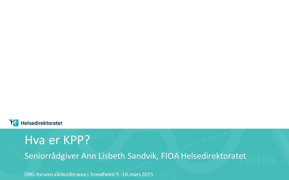 Seniorrådgiver Ann Lisbeth Sandvik, FIOA Helsedirektoratet