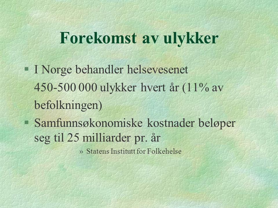 Forekomst av ulykker I Norge behandler helsevesenet