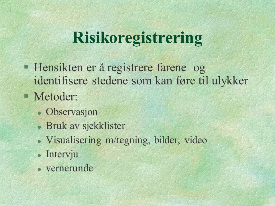 Risikoregistrering Hensikten er å registrere farene og identifisere stedene som kan føre til ulykker.