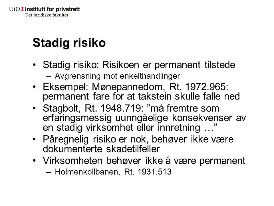 Stadig risiko Stadig risiko: Risikoen er permanent tilstede