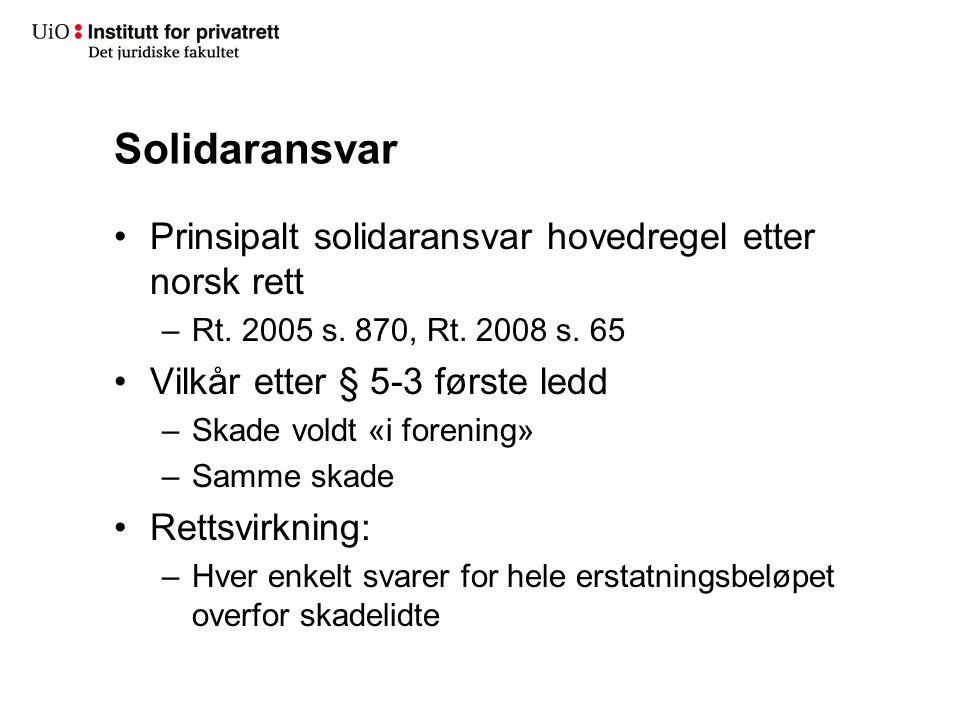 Solidaransvar Prinsipalt solidaransvar hovedregel etter norsk rett