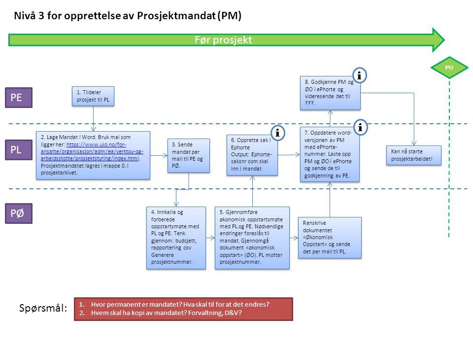 Nivå 3 for opprettelse av Prosjektmandat (PM)