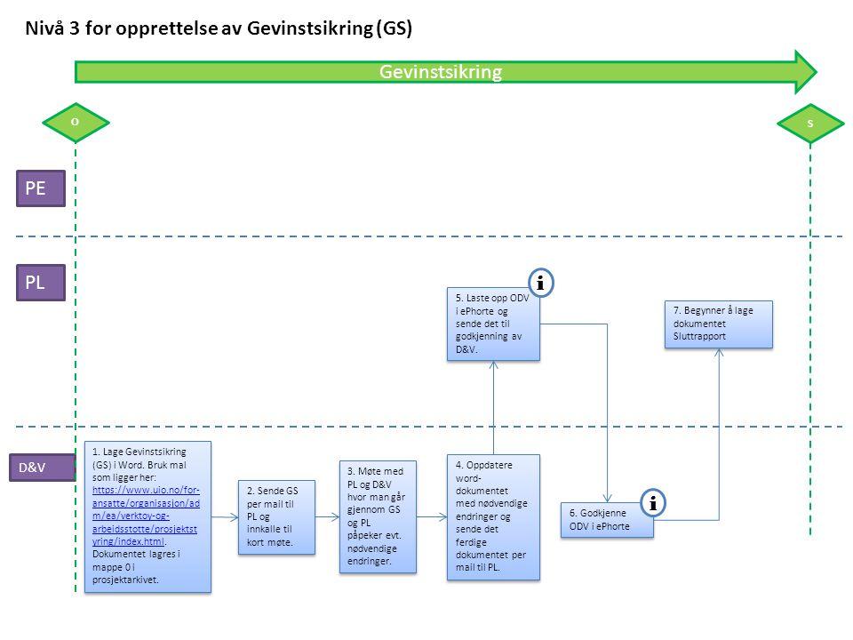 Nivå 3 for opprettelse av Gevinstsikring (GS)