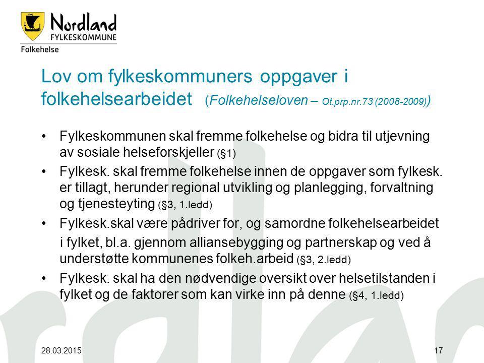 Lov om fylkeskommuners oppgaver i folkehelsearbeidet (Folkehelseloven – Ot.prp.nr.73 (2008-2009))