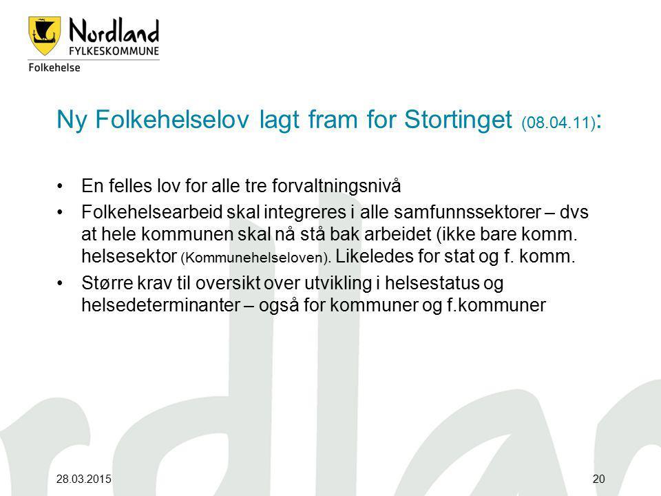 Ny Folkehelselov lagt fram for Stortinget (08.04.11):