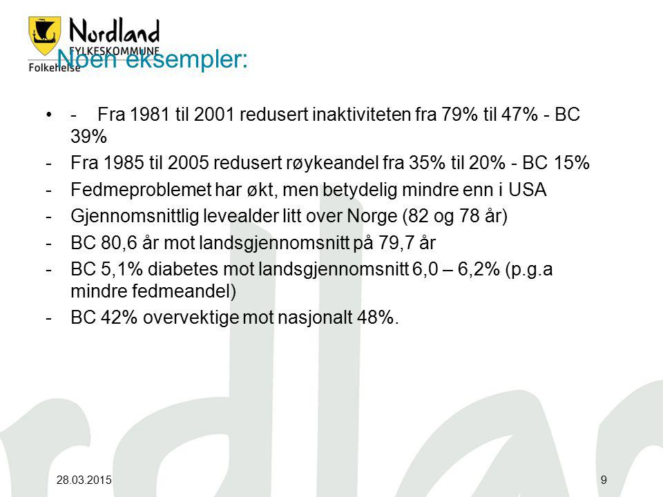 Noen eksempler: - Fra 1981 til 2001 redusert inaktiviteten fra 79% til 47% - BC 39%