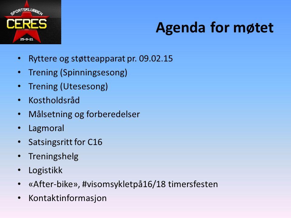 Agenda for møtet Ryttere og støtteapparat pr. 09.02.15