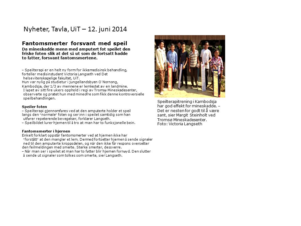 Nyheter, Tavla, UiT – 12. juni 2014
