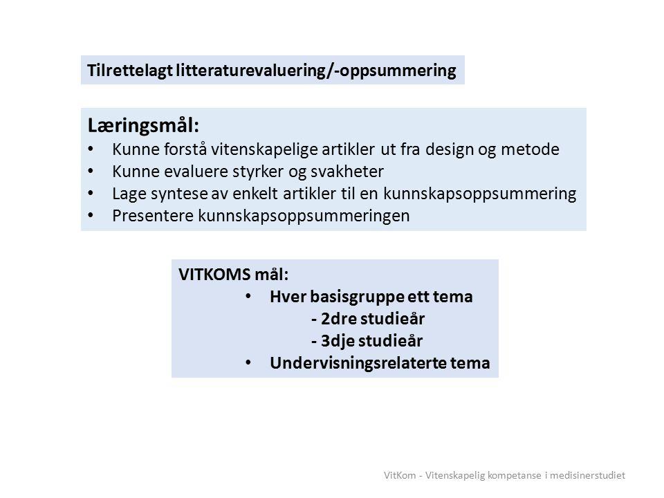 VitKom - Vitenskapelig kompetanse i medisinerstudiet