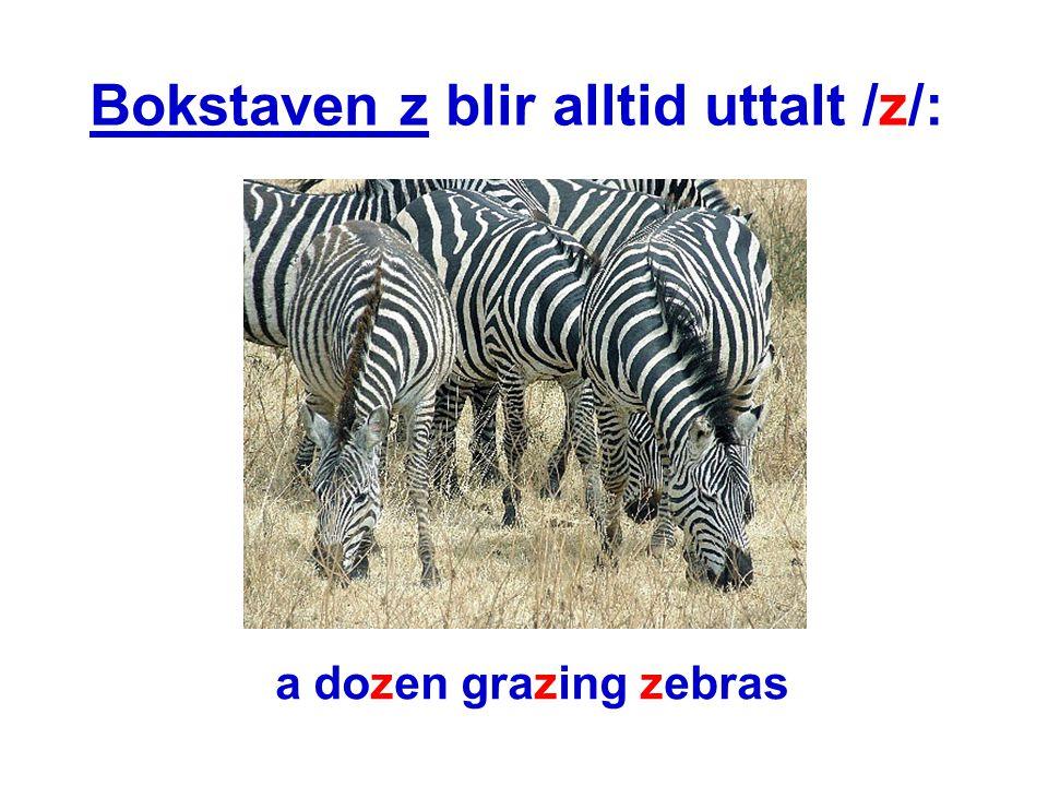 Bokstaven z blir alltid uttalt /z/: