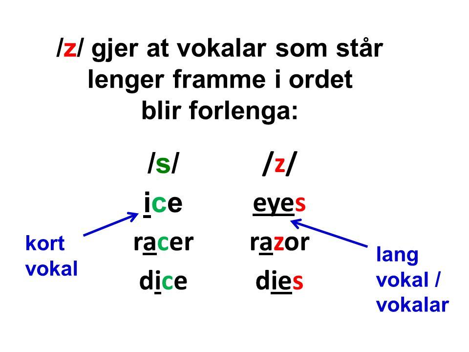 /z/ gjer at vokalar som står lenger framme i ordet