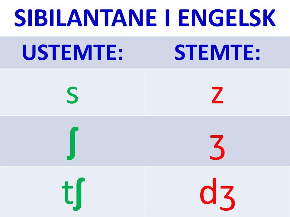 SIBILANTANE I ENGELSK USTEMTE: STEMTE: s z ʃ ʒ tʃ dʒ