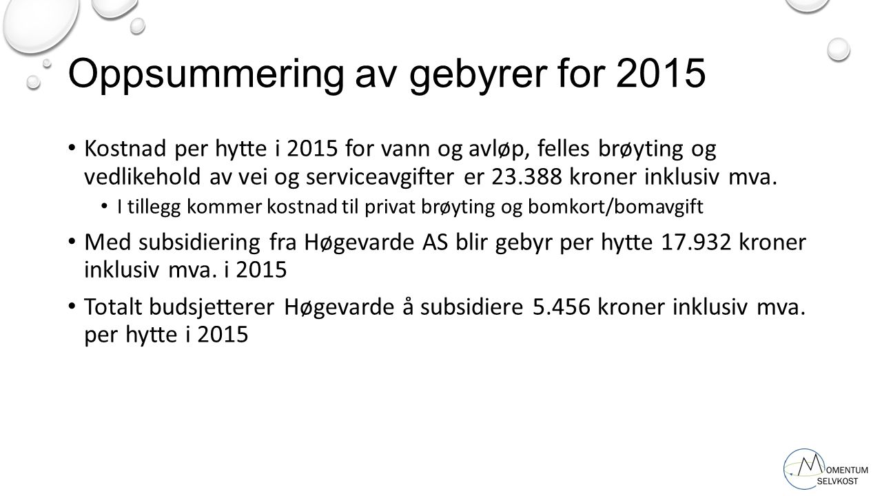 Oppsummering av gebyrer for 2015