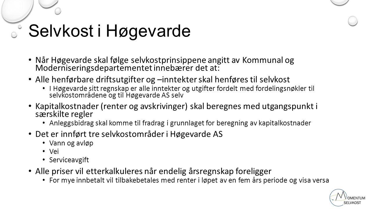 Selvkost i Høgevarde Når Høgevarde skal følge selvkostprinsippene angitt av Kommunal og Moderniseringsdepartementet innebærer det at: