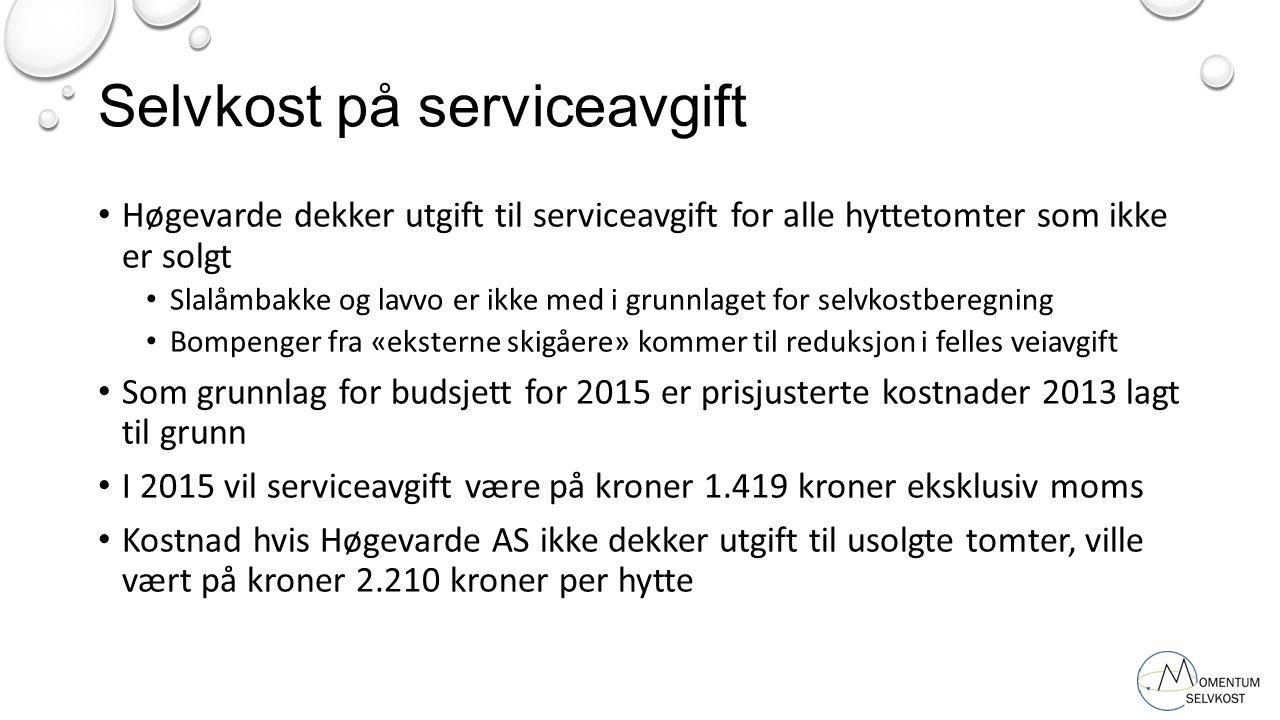 Selvkost på serviceavgift