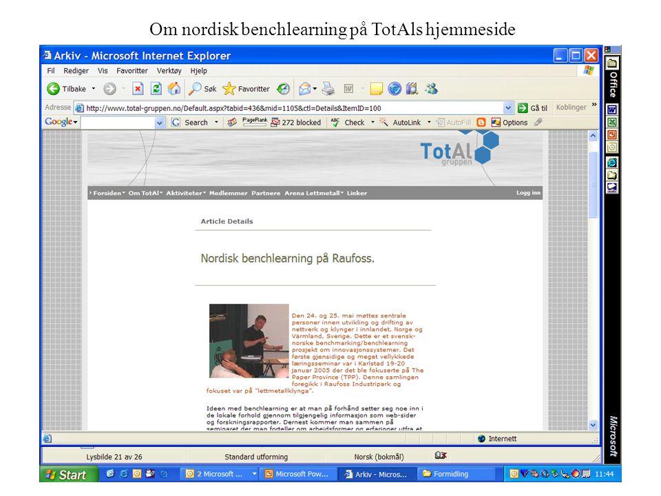 Om nordisk benchlearning på TotAls hjemmeside