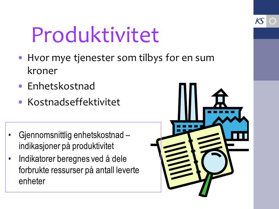 Produktivitet Hvor mye tjenester som tilbys for en sum kroner
