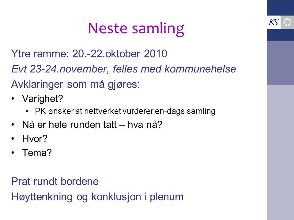 Neste samling Ytre ramme: 20.-22.oktober 2010