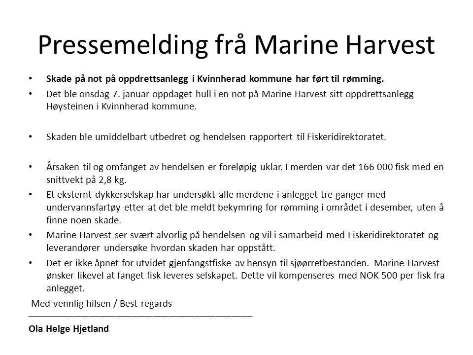 Pressemelding frå Marine Harvest