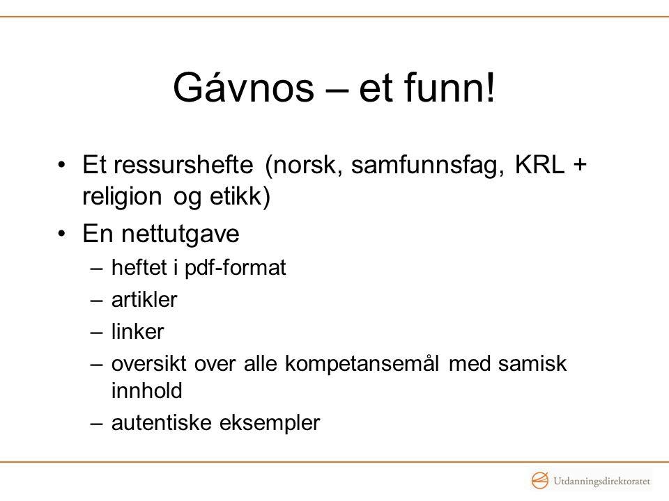 Gávnos – et funn! Et ressurshefte (norsk, samfunnsfag, KRL + religion og etikk) En nettutgave. heftet i pdf-format.