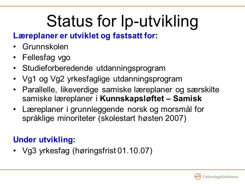 Status for lp-utvikling