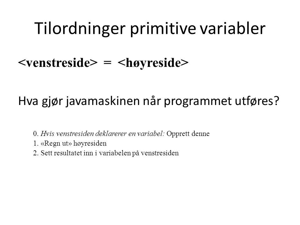 Tilordninger primitive variabler
