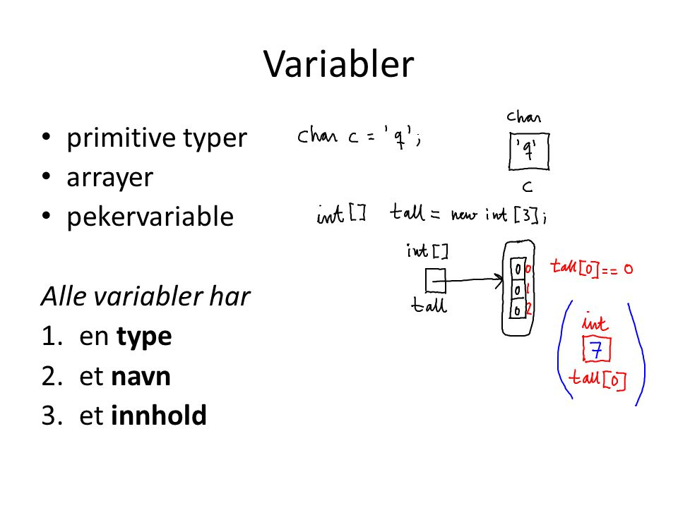 Variabler primitive typer arrayer pekervariable Alle variabler har