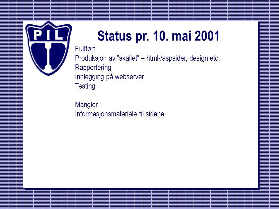 Status pr. 10. mai 2001 Fullført. Produksjon av skallet – html-/aspsider, design etc. Rapportering.