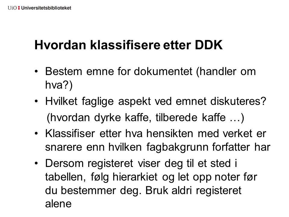Hvordan klassifisere etter DDK