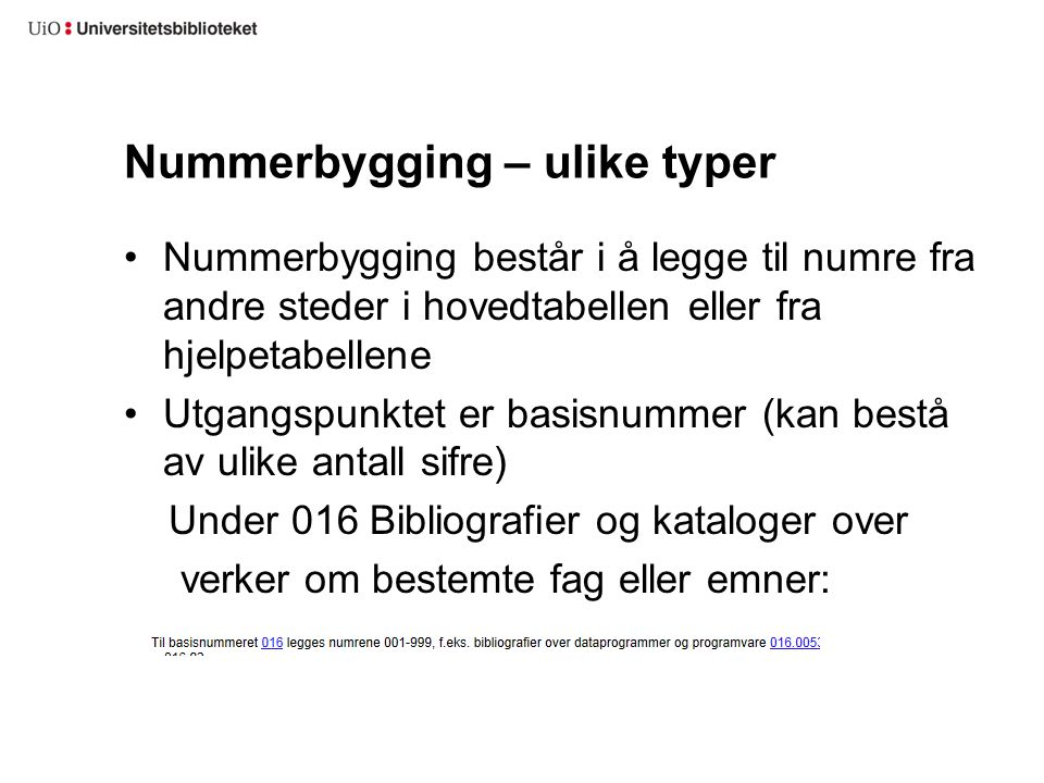Nummerbygging – ulike typer
