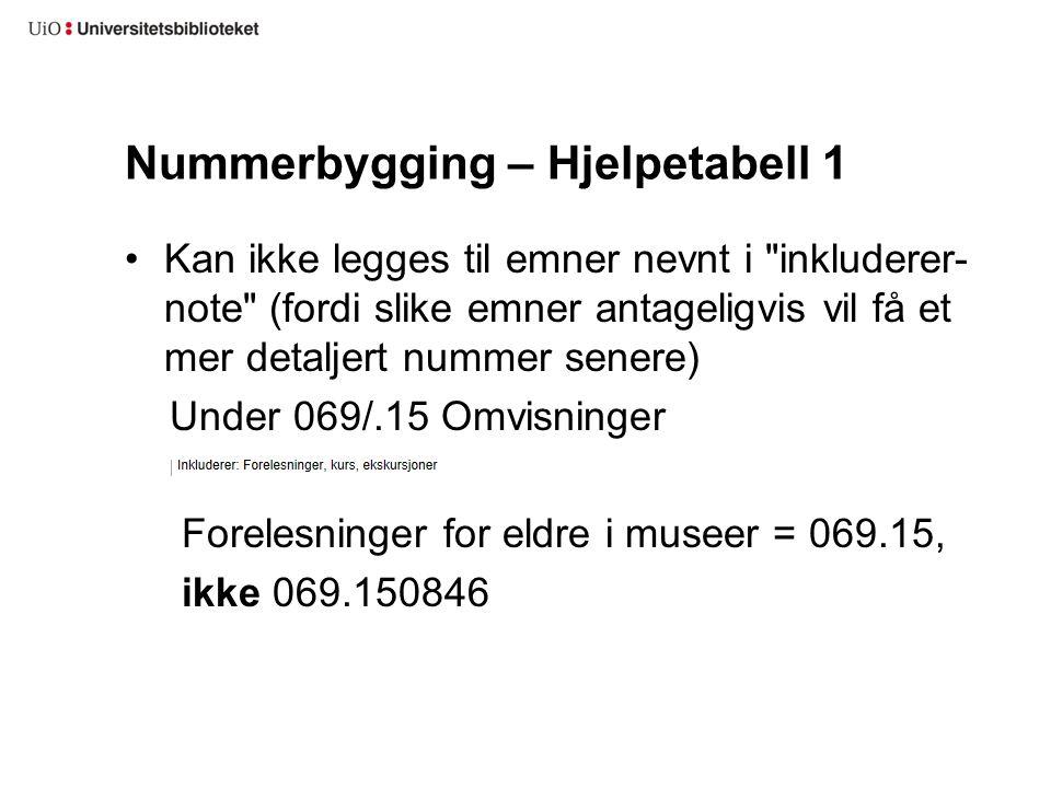 Nummerbygging – Hjelpetabell 1