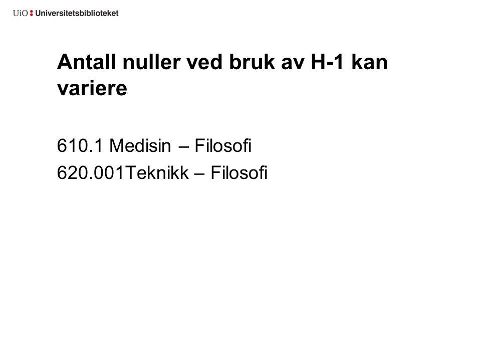 Antall nuller ved bruk av H-1 kan variere