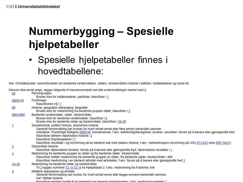 Nummerbygging – Spesielle hjelpetabeller