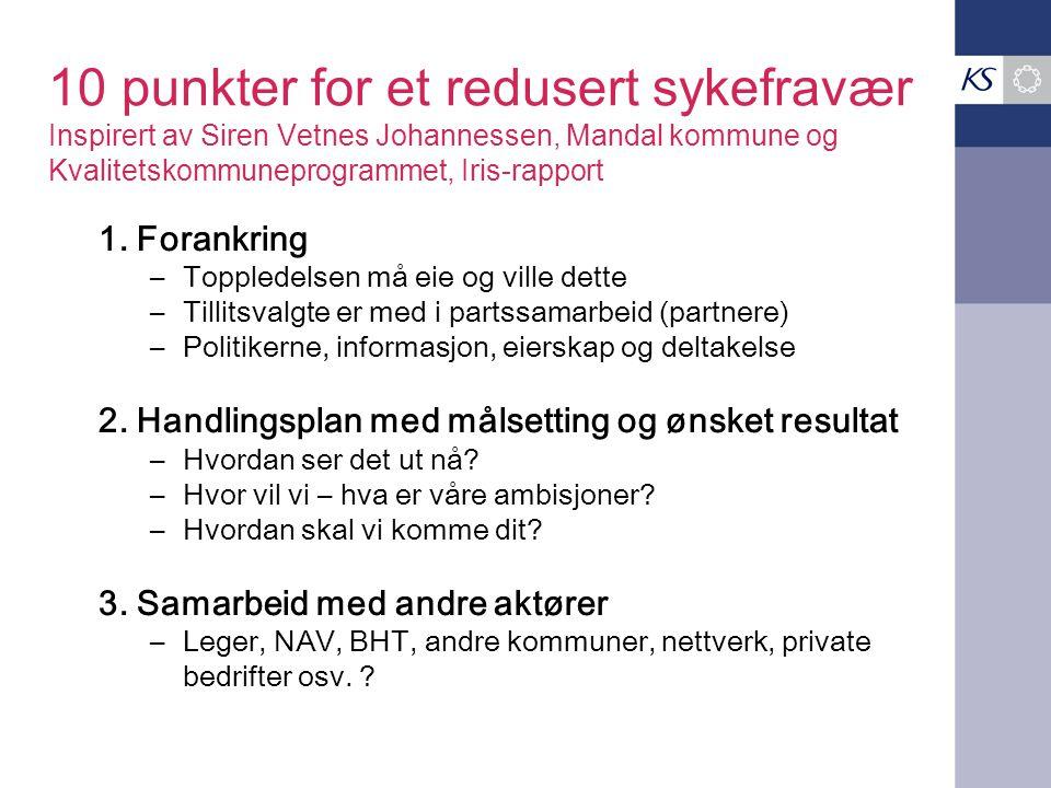 10 punkter for et redusert sykefravær Inspirert av Siren Vetnes Johannessen, Mandal kommune og Kvalitetskommuneprogrammet, Iris-rapport