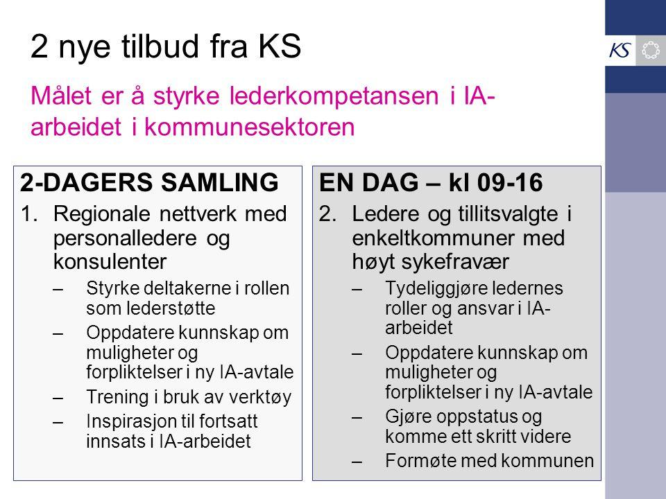 2 nye tilbud fra KS Målet er å styrke lederkompetansen i IA-arbeidet i kommunesektoren. 2-DAGERS SAMLING.