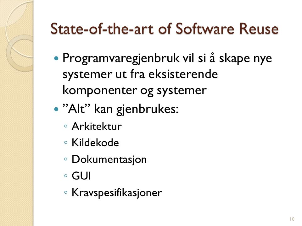 State-of-the-art of Software Reuse