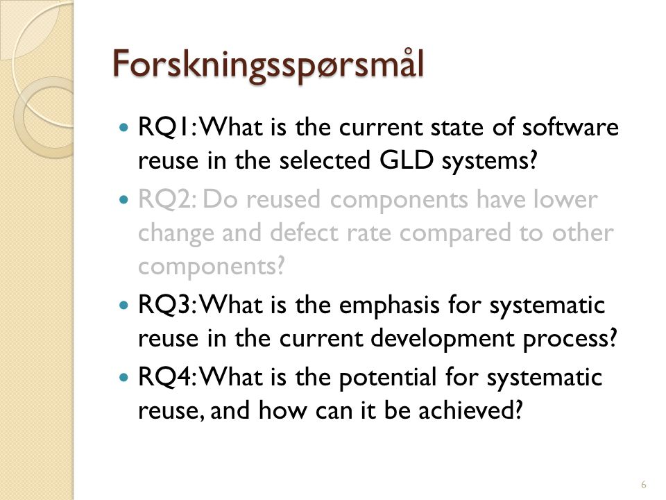 Forskningsspørsmål RQ1: What is the current state of software reuse in the selected GLD systems