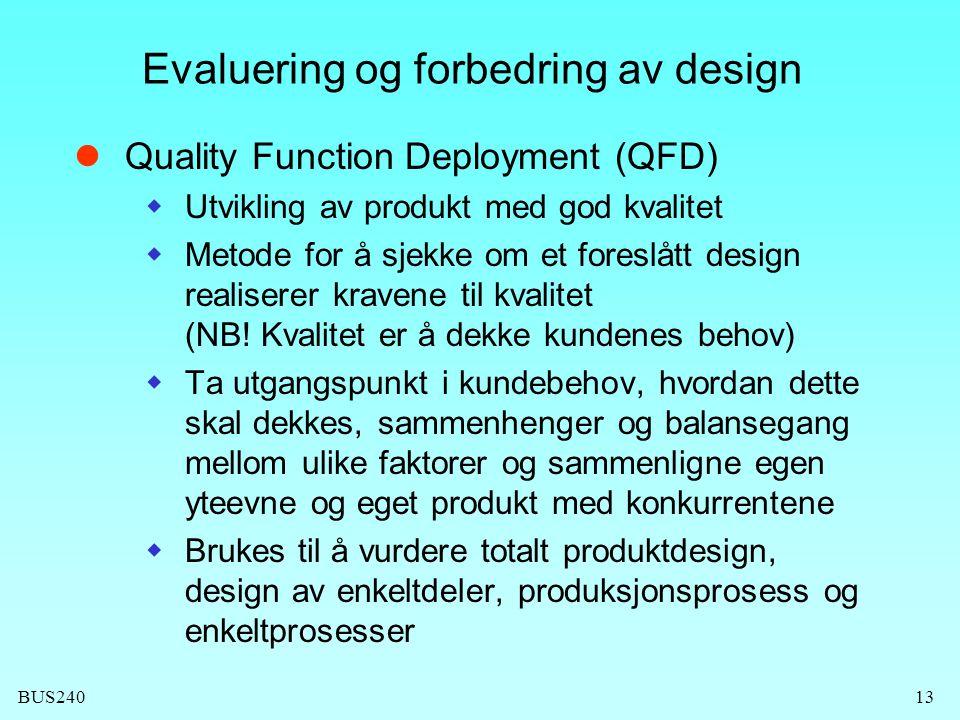 Evaluering og forbedring av design